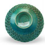 Centrotavola blu acqua in ceramica lavorazione raku, Ceramiche Liberati