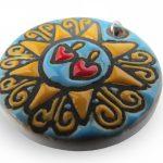 Ciondolo Presentosa abruzzese in ceramica turchese, Ceramiche Liberati