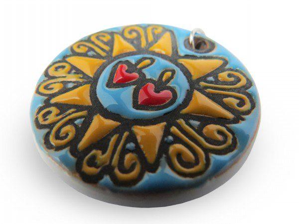 Ciondolo Presentosa colorata in ceramica turchese, Ceramiche Liberati