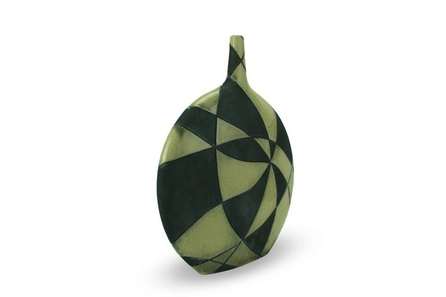 Checkered design raku ceramic bottle, Ceramiche Liberati.