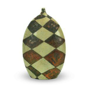 Bottiglia in ceramica raku da design casa, decoro a scacchi, Ceramiche Liberati