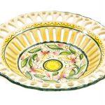 Centrotavola in ceramica traforato rapino, decoro Orchidea, Ceramiche Liberati