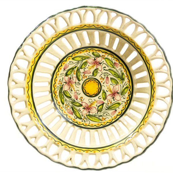 Centrotavola in ceramica con piede, traforo rapino con decoro Orchidea, Ceramiche Liberati