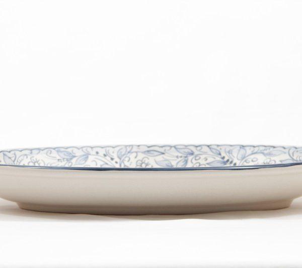 Piatto da portata ovale in ceramica artigianale, decoro Teate, Ceramiche Liberati