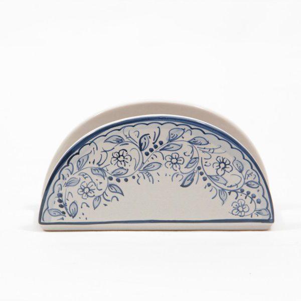 Portatovaglioli mezzaluna in ceramica artigianale, decoro teate, Ceramiche Liberati