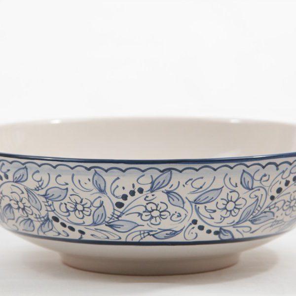 Ciotola da portata tonda in ceramica artigianale, decoro Teate, Ceramiche Liberati