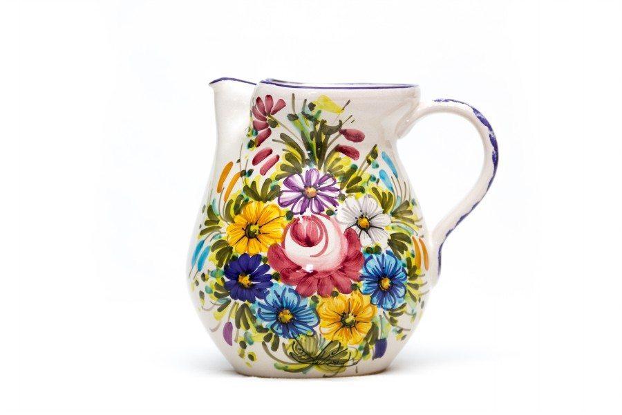 Brocca o caraffa in ceramica artigianale, decoro Fioraccio, Ceramiche Liberati