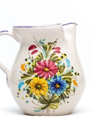 Artisanal ceramic pitcher, Fioraccio decoration, Ceramiche Liberati