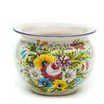Cachet-pot portavaso in ceramica, decoro Fioraccio, Ceramiche Liberati