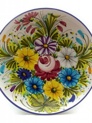 Artisanal ceramic wall plate, Fioraccio decoration by Ceramiche Liberati