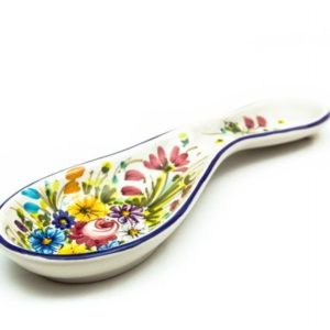 Artisanal ceramic spoon rest, Fioraccio decoration, Ceramiche Liberati