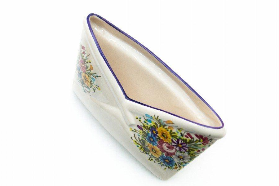 Portadocumenti da scrivania in ceramica artigianale, decoro Fioraccio, Ceramiche Liberati
