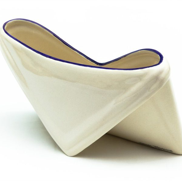 Artisanal ceramic desk document holder, Fioraccio decoration, Ceramiche Liberati