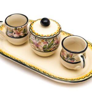 Artisanal ceramic coffee set, Orchidea decoraton, Ceramiche Liberati