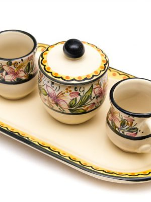 Artisanal ceramic coffee set, Orchidea decoraton, Ceramiche Liberati