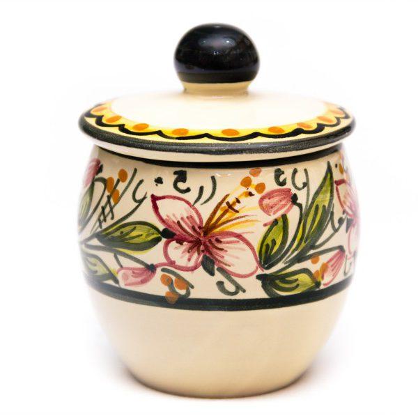 Servizio caffè in ceramica artigianale, decoro Orchidea, Ceramiche Liberati