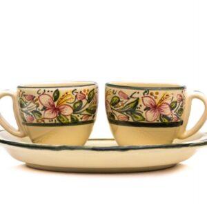 Artisanal ceramic coffee set tête-à-tête, Orchidea decoraton, Ceramiche Liberati