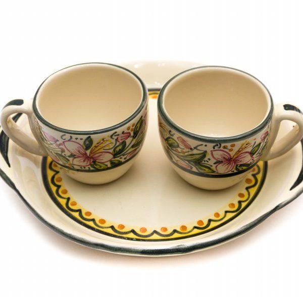 Servizio caffè in ceramica tête-à-tête, decoro Orchidea, Ceramiche Liberati
