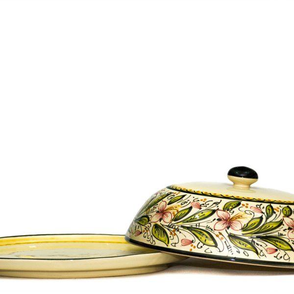 Portavivande vassoio in ceramica artigianale, decoro Orchidea, Ceramiche Liberati