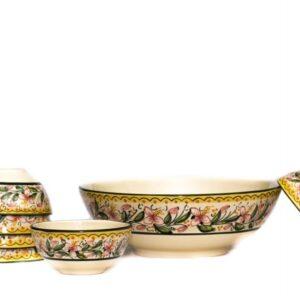 Set macedonia in ceramica con 6 coppette, decoro Orchidea, Ceramiche Liberati