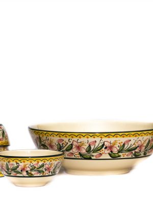 Set macedonia in ceramica con 6 coppette, decoro Orchidea, Ceramiche Liberati