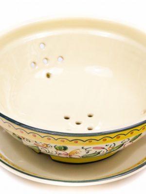 Artisanal ceramic fruit strainer, Orchidea decoration, Ceramiche Liberati