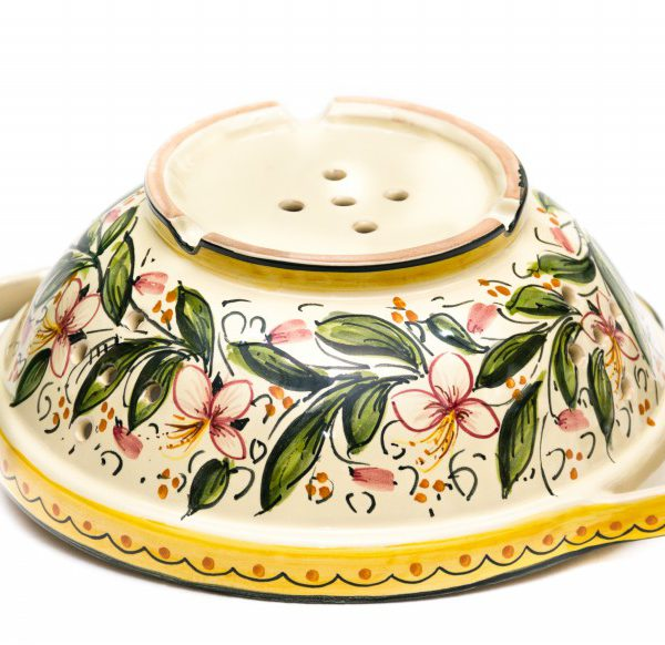 Scolafrutta in ceramica artigianale, decoro Orchidea, Ceramiche Liberati