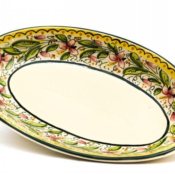 Piatto da portata ovale in ceramica artigianale, decoro Orchidea, Ceramiche Liberati