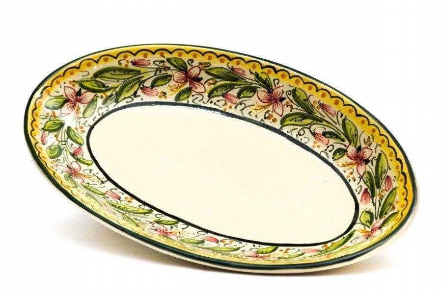 Decorazioni Piatti Da Portata.Piatto Da Portata Ovale Sperlunga In Ceramica Orchidea
