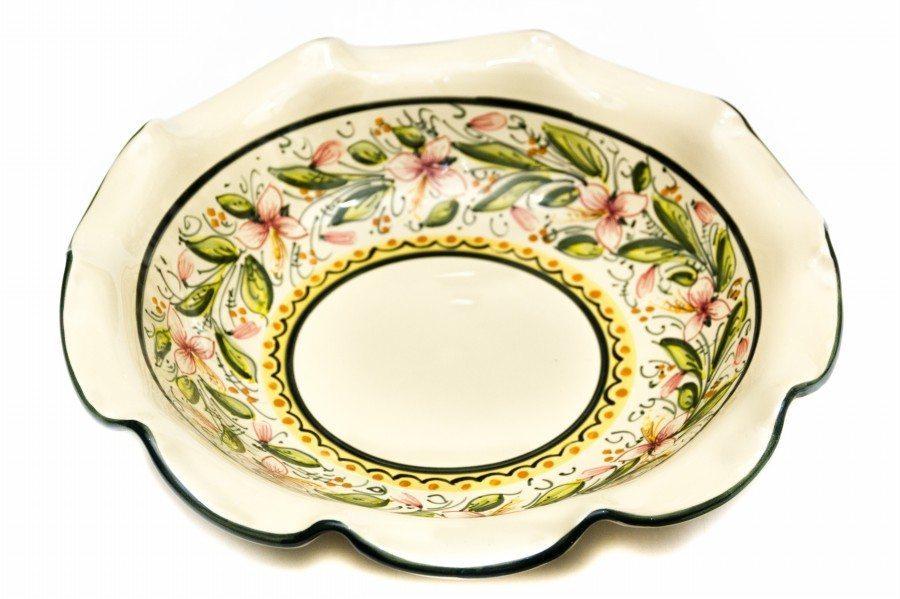 Fruttiera in ceramica artigianale con bordo smerlato, decoro Orchidea, Ceramiche Liberati