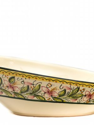 Artisanal ceramic oval oblique serving plate, Orchidea decoraton, Ceramiche Liberati