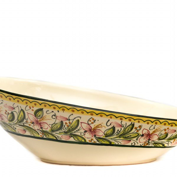 Piatto ovale obliquo in ceramica artigianale, decoro Orchidea, Ceramiche Liberati