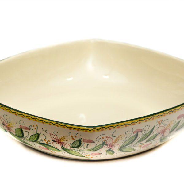 Ciotola da portata quadrata in ceramica artigianale, decoro Orchidea, Ceramiche Liberati