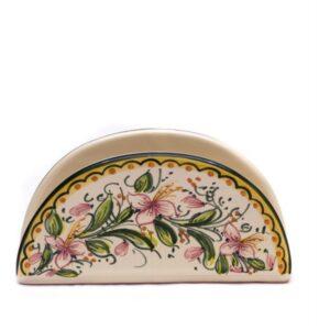 Portatovaglioli mezzaluna in ceramica artigianale, decoro orchidea, Ceramiche Liberati
