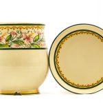 Scolaposate in ceramica artigianale con piattino, decoro Orchidea, Ceramiche Liberati