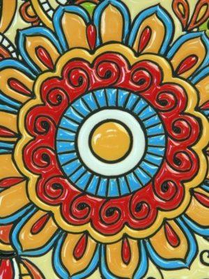 Piatto da muro in ceramica cuerda seca Abruzzo, Ceramiche Liberati
