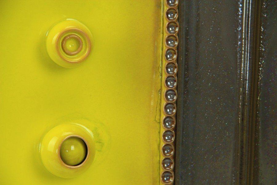Piatto da muro in ceramica artistica con riflessi giallo e grigio, Ceramiche Liberati
