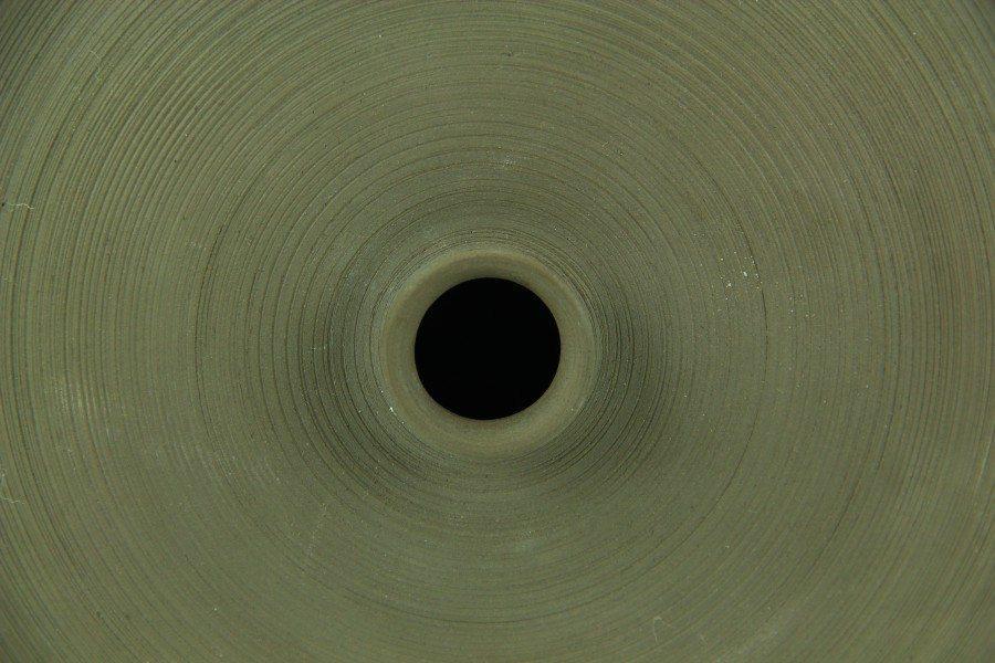 Bottiglia cilindro in argilla nera e smalto arancio, Ceramiche Liberati