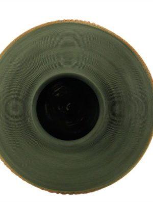 Vaso panciuto in argilla nera e smalto color fuoco, Ceramiche Liberati