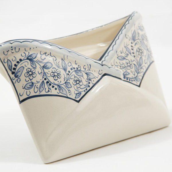 Portadocumenti da scrivania in ceramica artigianale, decoro Teate, Ceramiche Liberati