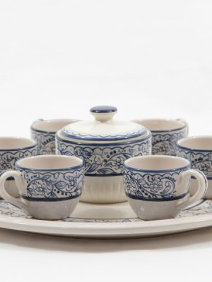 Ceramic coffee set for six with sugar jar and tray, Orchidea decoration, Ceramiche Liberati