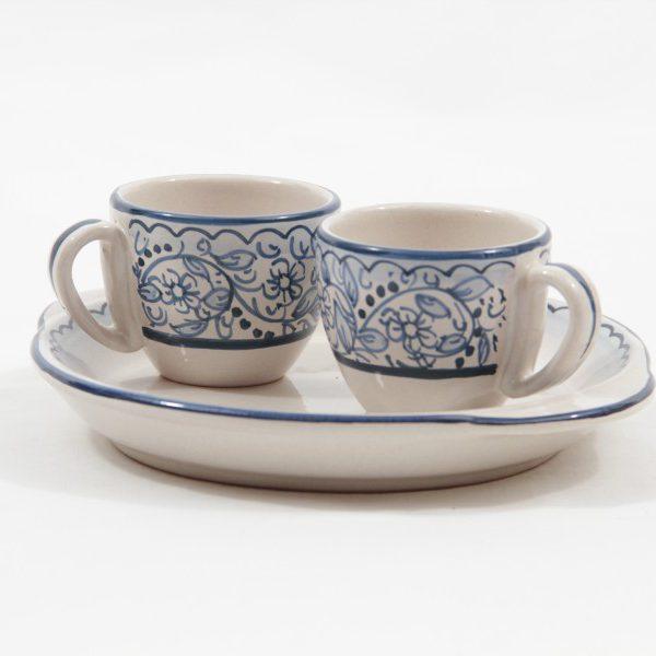 Servizio caffè in ceramica tête-à-tête decoro teate, Ceramiche Liberati