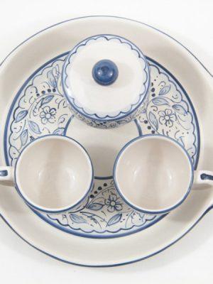 Servizio caffè in ceramica per due con zuccheriera e vassoio, decoro Teate, Ceramiche Liberati