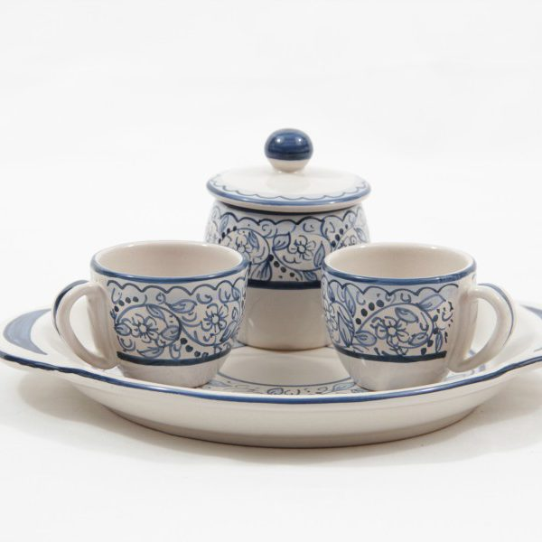 Ceramic coffee set for two with sugar jar and tray, Teate decoration, Ceramiche Liberati