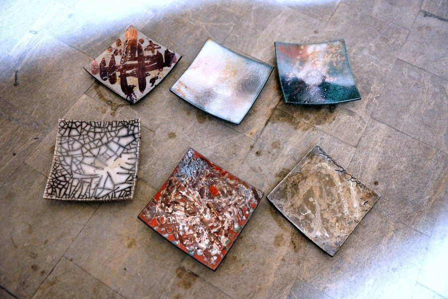 Ceramica raku centrotavola quadrati, Ceramiche Liberati
