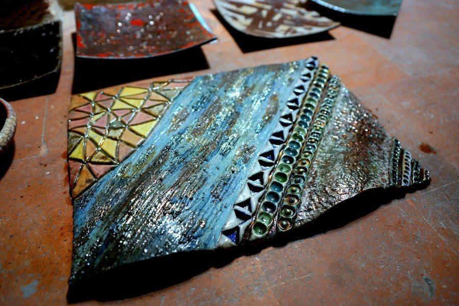 Pannello in ceramica realizzato con la tecnica raku, Ceramiche Liberati