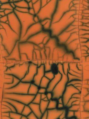 Pannello in ceramica raku nudo arancio con supporto in legno, Ceramiche Liberati