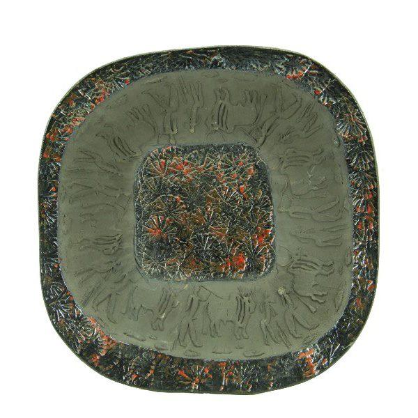 Centrotavola moderno in ceramica italiana, incisioni rupestri e smalti, Ceramiche Liberati