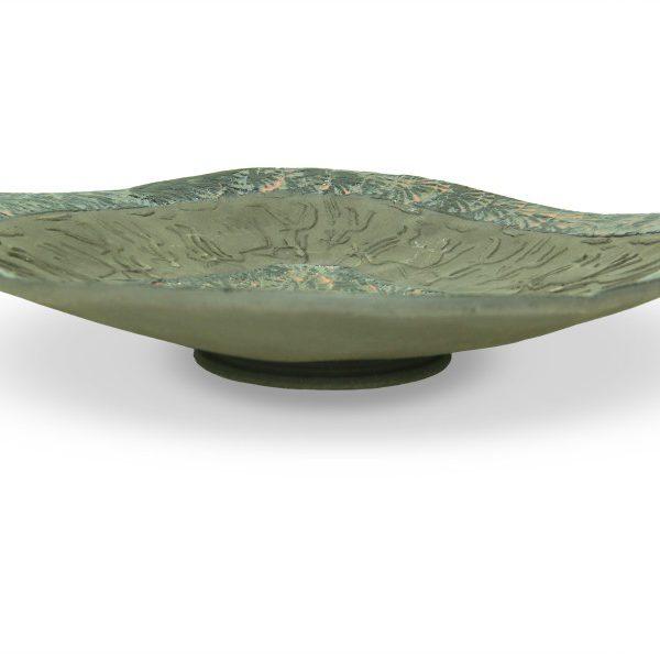 Centrotavola moderno in ceramica artigianale, incisioni e smalti, Ceramiche Liberati