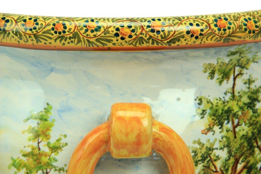 Vaso grande in ceramica italiana con manici e decoro Paesaggio di Ceramiche Liberati